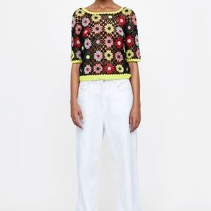 Zara Multicolor Crotchet Sweater Top